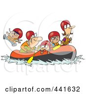 Royalty Free RF Clip Art Illustration Of A Cartoon Family Rafting by toonaday