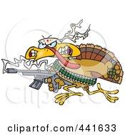 Royalty Free RF Clip Art Illustration Of A Cartoon Rambo Thanksgiving Turkey Bird