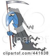 Royalty Free RF Clip Art Illustration Of A Cartoon Grim Reaper With A Scythe by toonaday