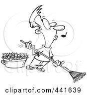 Royalty Free RF Clip Art Illustration Of A Cartoon Black And White Outline Design Of A Whistling Man Raking Leaves by toonaday