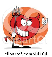 Clipart Illustration Of A Sinful And Naughty Red Heart Character Devil by Hit Toon