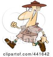 Royalty Free RF Clip Art Illustration Of A Cartoon Male Ranger Walking
