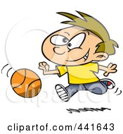 Royalty Free RF Clip Art Illustration Of A Cartoon Boy Dribbling A Basketball by toonaday