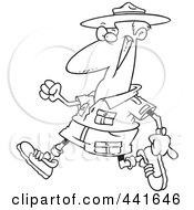 Royalty Free RF Clip Art Illustration Of A Cartoon Black And White Outline Design Of A Male Ranger Walking