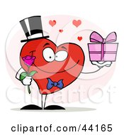 Clipart Illustration Of A Romantic Gentleman Heart Holding A Single Rose And A Gift by Hit Toon
