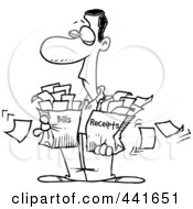 Royalty Free RF Clip Art Illustration Of A Cartoon Black And White Outline Design Of A Man Carrying Bags Of Bills And Receipts
