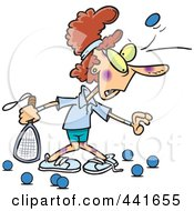 Royalty Free RF Clip Art Illustration Of A Cartoon Woman Getting Bruised During Racquetball