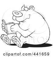 Royalty Free RF Clip Art Illustration Of A Cartoon Black And White Outline Design Of A Happy Bear Reading