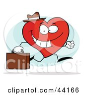 Clipart Illustration Of A Happy Business Heart Character Carrying A Briefcase And Running To Work