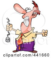 Royalty Free RF Clip Art Illustration Of A Cartoon Outraged Businessman Holding A Computer Mouse