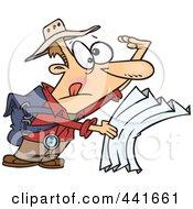 Royalty Free RF Clip Art Illustration Of A Cartoon Lost Hiker Using A Map