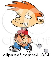 Royalty Free RF Clip Art Illustration Of A Cartoon Boy Losing Coins From His Piggy Bank by toonaday