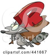Royalty Free RF Clip Art Illustration Of A Cartoon Raccoon Carrying A Letter R by toonaday
