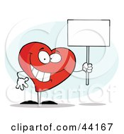 Clipart Illustration Of A Grinning Heart Character Holding A Blank White Sign by Hit Toon