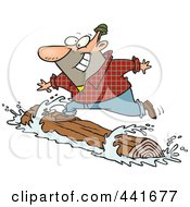 Royalty Free RF Clip Art Illustration Of A Cartoon Lumberjack Log Rolling