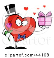 Clipart Illustration Of A Romantic Gentleman Heart Holding A Single Rose And A Present by Hit Toon