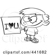 Royalty Free RF Clip Art Illustration Of A Cartoon Black And White Outline Design Of A Boy Holding An I Love You Sign