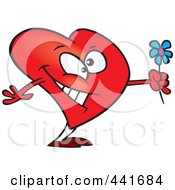 Royalty Free RF Clip Art Illustration Of A Cartoon Romantic Heart Holding Flowers by toonaday