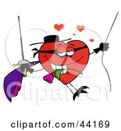 Clipart Illustration Of A Masked Heart Character Swinging On A Rope And Biting A Rose While Holding A Sword by Hit Toon
