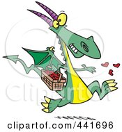 Royalty Free RF Clip Art Illustration Of A Cartoon Dragon Spreading Love by toonaday