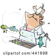 Royalty Free RF Clip Art Illustration Of A Cartoon Lunch Lady Serving Goop In A School Cafeteria by toonaday