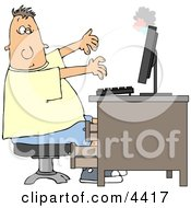 Mans Computer Monitor Blowing Up In His Face Clipart
