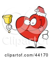 Clipart Illustration Of A Red Philanthropist Heart Character Ringing A Bell For Donations On Christmas by Hit Toon
