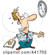 Royalty Free RF Clip Art Illustration Of A Cartoon Businessman With A Looming Deadline by toonaday