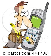 Royalty Free RF Clip Art Illustration Of A Cartoon Man Holding A Giant Phone