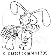 Royalty Free RF Clip Art Illustration Of A Cartoon Black And White Outline Design Of An Easter Bunny Walking With An Easter Basket