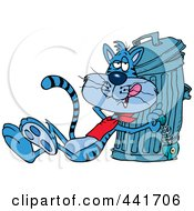 Royalty Free RF Clip Art Illustration Of A Cartoon Cat Eating A Luxurious Fish Bone From The Garbage by toonaday