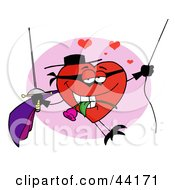 Clipart Illustration Of A Romantic Masked Heart Character Swinging With A Rose And Sword