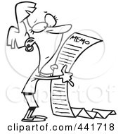 Royalty Free RF Clip Art Illustration Of A Cartoon Black And White Outline Design Of A Businesswoman Reading A Long Memo