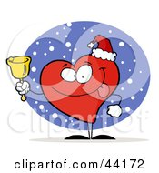 Clipart Illustration Of A Red Heart Philanthropist Ringing A Bell For Donations And Wearing A Santa Hat by Hit Toon