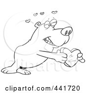 Royalty Free RF Clip Art Illustration Of A Cartoon Black And White Outline Design Of A Bear Holding A Be Mine Heart Box