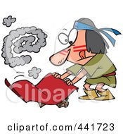 Royalty Free RF Clip Art Illustration Of A Cartoon Native American Man Fanning A Fire With An At Smoke Symbol