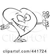 Royalty Free RF Clip Art Illustration Of A Cartoon Black And White Outline Design Of A Romantic Heart Holding Flowers
