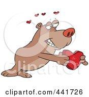 Royalty Free RF Clip Art Illustration Of A Cartoon Bear Holding A Be Mine Heart Box