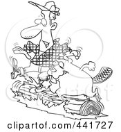 Royalty Free RF Clip Art Illustration Of A Cartoon Black And White Outline Design Of A Lumberjack And Beaver Log Rolling