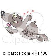 Royalty Free RF Clip Art Illustration Of A Cartoon Romantic Bear Running With Flowers