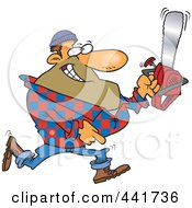 Royalty Free RF Clip Art Illustration Of A Cartoon Lumberjack Carrying A Saw