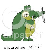 Hungry Green Croc Holding A Knife And Fork