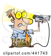 Royalty Free RF Clip Art Illustration Of A Cartoon Man Shining A Projector In His Face