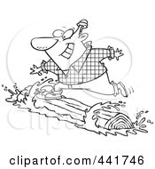 Royalty Free RF Clip Art Illustration Of A Cartoon Black And White Outline Design Of A Lumberjack Log Rolling
