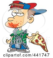 Royalty Free RF Clip Art Illustration Of A Cartoon Messy Boy Eating Pizza by toonaday