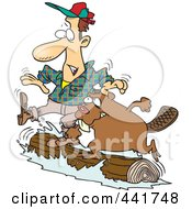 Royalty Free RF Clip Art Illustration Of A Cartoon Lumberjack And Beaver Log Rolling by toonaday