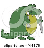Hungry Green Crocodile Holding A Knife And Fork