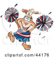 Cheerleader Sparkette Dog Character Waving Pom Poms