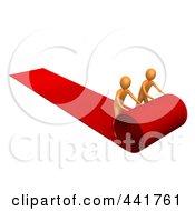 Two Orange Men Unrolling A Red Carpet