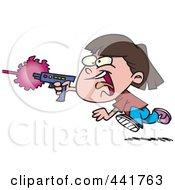 Royalty Free RF Clip Art Illustration Of A Cartoon Girl Shooting A Gun And Playing Laser Tag